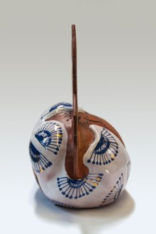 Cone 04 Earthenware. Maiolica, terra sigillata, lustre. Press molded and and hand built Oxidation w. 45 cm, h. 45 cm, d. 29 cm
